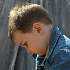 by Shannon Maltbie-Davis - Babies & Children Children Candids ( melancholy, wood, denim, toddler, serious, boy )