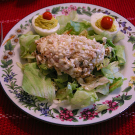 Tuna-Cottage Cheese Salad Plate by Rita Goebert - Food & Drink Plated Food ( tuna salad; cottage cheese; deviled eggs; lettuce )
