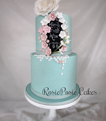 Two Tier Spring Floral Chalkboard Effect Wedding Cake