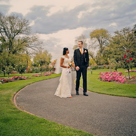 A Walk Along the Path by Alan Evans - Wedding Bride & Groom ( alan, aj photography )