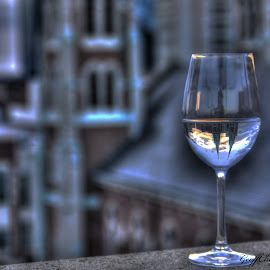 Reflections in a wine glass by Geoffrey Chen - Artistic Objects Glass ( wine, reflection, church, indianapolis, glassware,  )