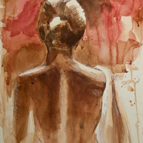 Back at You by Irma Mason - Painting All Painting ( abstract, girl, nude, lady, back, portrait )