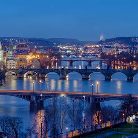 Prague bridges by Robert Grim - City,  Street & Park  Historic Districts ( europe, blue hour, czech, czech republic, bridge, praha, prague, photography )