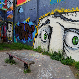 Eyes to the Right by DJ Cockburn - City,  Street & Park  Street Scenes ( hackney, bench, hackney wick, towpath, hertford union canal, canal, england, london, graffiti, stratford, waterway, pavement, sidewalk )