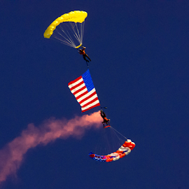 Skydiving American Flag by Tina Hailey - Sports & Fitness Other Sports ( skydiving, flags, tinas captured moments, independence day,  )