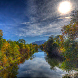 Along the river 1 by Thomas Born - Landscapes Waterscapes ( water, stream, fall colors, autumn, trees, forest, river )