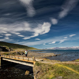 Crossing the River  by Þorsteinn H. Ingibergsson - Landscapes Cloud Formations ( clouds, iceland, sky, nature, structor, bridge, landscape )