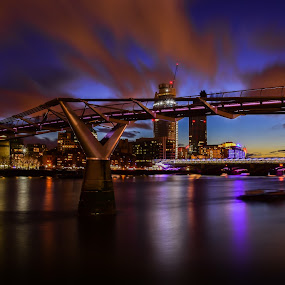 london in night by Balan Gratian - City,  Street & Park  Night ( london blue hour, london night, bridge in london, london cityscape, bridge on thames )