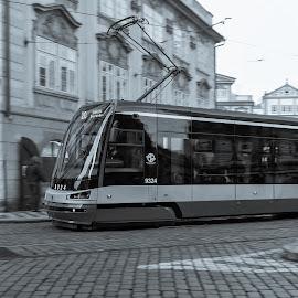 Prague tram by Bojan Porenta - City,  Street & Park  Street Scenes ( skoda, tram, tracks, prague, city, streetcar )