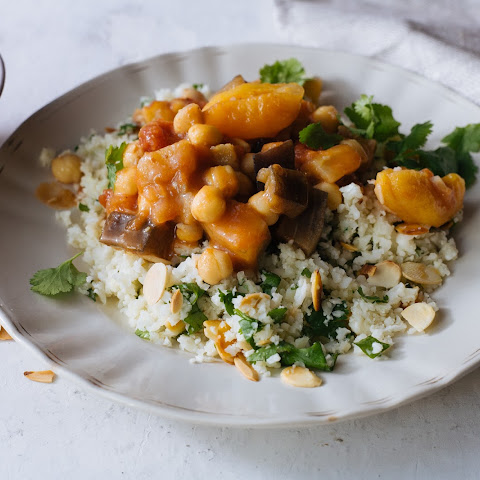 Moroccan Spiced Aubergine, Chickpea & Apricot Tagine With Cauliflower Rice