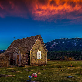 Rural Town Church by Garry Dosa - Buildings & Architecture Places of Worship ( clouds, building, structure, red, church, sunset, landscape, evening )