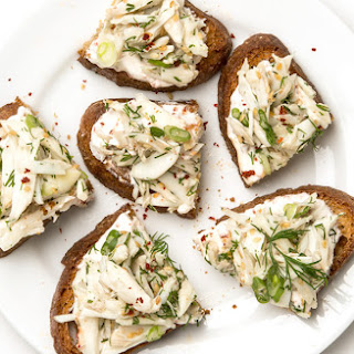 Crab Toasts with Spicy Yogurt
