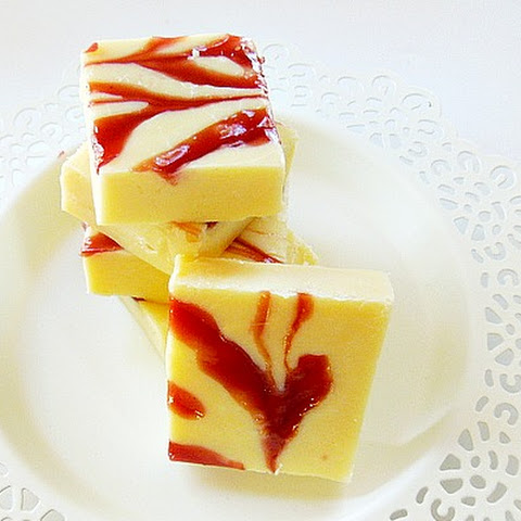 White Chocolate and Raspberry Jam Fudge