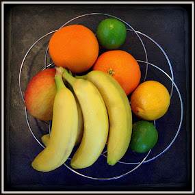 Bowl of Fruit by Mike Tricker - Food & Drink Fruits & Vegetables ( orange, bowl, banana, fruit, lime,  )