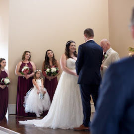 Sch and Ty 1 by Angela Hollowell - Wedding Ceremony ( bridesmaids, bridesmaid, bride, groom, wedding ceremony )