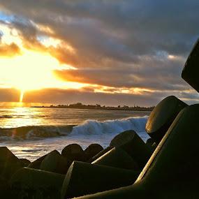 Puzzled Peace by Derek Gibbins - Instagram & Mobile iPhone ( sand, cliffs, sunset, ocean, beach, rocks )