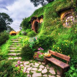 bag end by Aaron Choi - Buildings & Architecture Homes ( lotr, famous, peaceful, bilbo baggins, tourism, house, beauty, scenic, travel, landscape, hobbit, new zealand, shire, movie set, landmark, nature, lord of the ring, bilbo, beautiful home, baggins, bag end, view, north island, hobbiton )