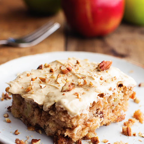 Apple Pecan Spice Cake with Brown Sugar Cream Cheese Frosting.