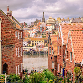 Harbour View by Darrell Evans - Buildings & Architecture Public & Historical ( water, clouds, building, harbor, brick, harbour, whitby, seaside, house, sky, yorkshire, outdoor, streerlight, garden, light )