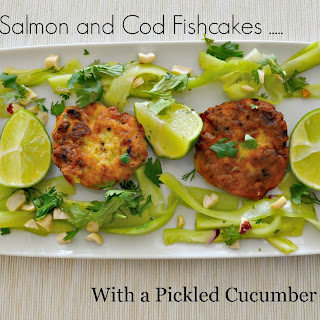 Thai Style Salmon and Cod Fishcakes with a Pickled Cucumber salad