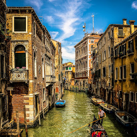 Gondola cruise in Venice by Natalia Dobrescu - City,  Street & Park  Historic Districts ( gondola, details, sccape, street, venice, architecture, historical, street scene, boat, professional people, canal, italy, city )
