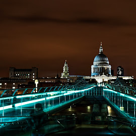 Late...Night in London by Atanas Tomov - Buildings & Architecture Other Exteriors ( footbridge, europe, dome, architecture, cityscape, travel, capital, people, millenium bridge, city, england, sky, thames, kingdom, millennium, dark, st, water, clouds, united, uk, building, church, british, millenium, tourism, saint, nightscape, urban, landmark, paul, london, cathedral, night, bridge, english, river )