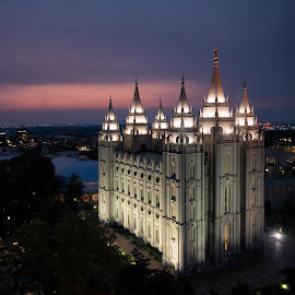 The Temple in Salt Lake City by John Williams - Buildings & Architecture Places of Worship ( utah, exterior architecture, temple, night scene, mormon )