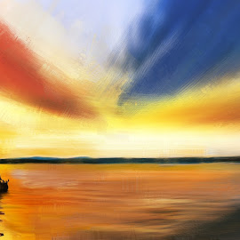 Journey to dream land by Narendra Sharma - Digital Art Things ( clouds, nature, sunset, sea, landscape, boat )