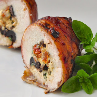 Bacon Wrapped Mediterranean Stuffed Grilled Chicken