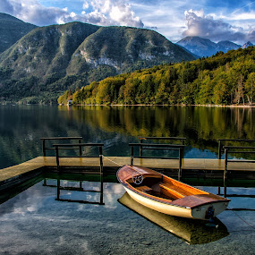 Lake boat by Joško Šimic - Buildings & Architecture Bridges & Suspended Structures ( mountains, autumn, boat, lake bohinj,  )