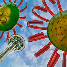 Seattle Street Art by David Whitehead - Buildings & Architecture Public & Historical ( space needle, vacation, red, blue, seattle, art, west coast, artistic objects, sun,  )