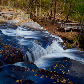 Break in the Action by Santford Overton - Landscapes Waterscapes ( landscapes, waterscapes, fall, leaves, light, longexposure, river, autumn, water, trees, colors, photography )
