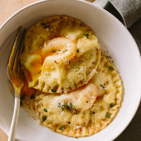 Chicken and Tarragon Poached Yolk Stuffed Ravioli