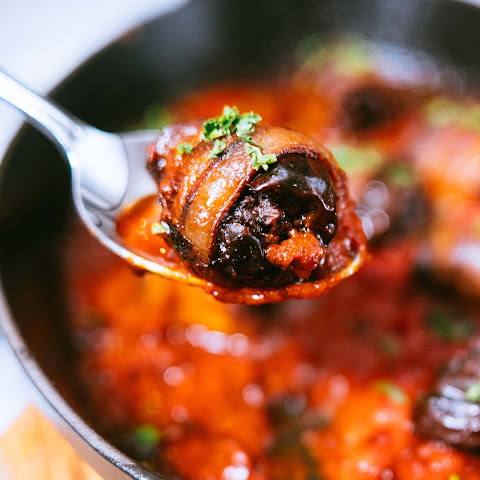 Chorizo-Stuffed Bacon-Wrapped Dates with Roasted Pepper Sauce