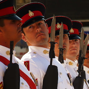 Eyes Right by Gabrielle Phillips - Professional People Military ( soldiers, royal gibraltar regiment, queen's birthday parade, military ceremony, gib reg )