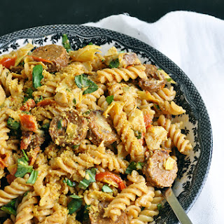 Vegan Fusilli with Sausage, Artichokes, and Tomatoes