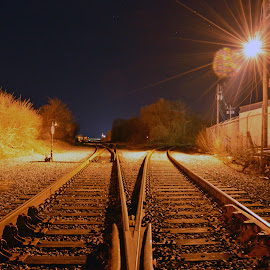 Railroad tracks in New Bedford Ma by Joseph Russell - City,  Street & Park  Night ( train tracks )