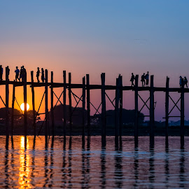 U Bein's Bridge, Myanmar by Crispin Lee - Landscapes Travel ( myanmar, u bein's bridge, amarapura, lake taungthaman )