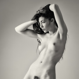 Bink with Attitude by John McNairn - Nudes & Boudoir Artistic Nude ( studio, scotland, model, nude, black and white )