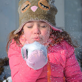 by Lori Lei Herr - Babies & Children Children Candids ( girl, cold, color, snow, gloves, pink, blowing snow, hat )