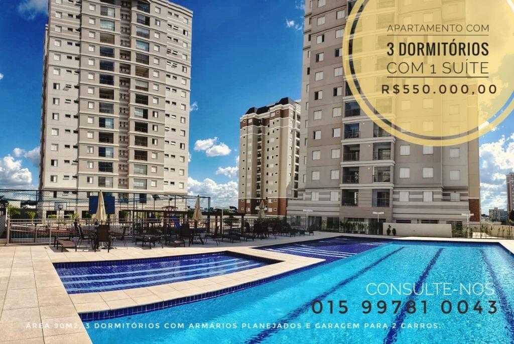 Apartamento com 3 dormitórios à venda, 90 m² por R$ 560.000 - Parque Campolim - Sorocaba/SP