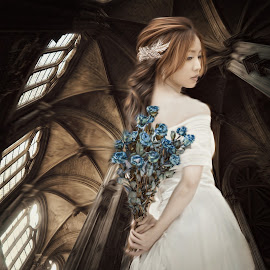 the wait by Kathleen Devai - Digital Art People ( church, woman, windows, beauty, flowers, light, shadows )