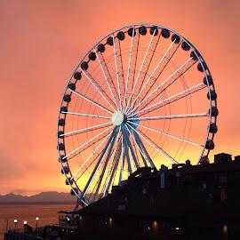The Ferris wheel at sunset by Rebecca Pollard - City,  Street & Park  Amusement Parks