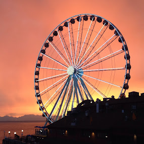 The Ferris wheel at sunset by Rebecca Pollard - City,  Street & Park  Amusement Parks (  )