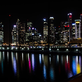 Marina Night by Yi Xuan Lee - City,  Street & Park  Skylines ( lights, night, singapore, marina bay, colours )