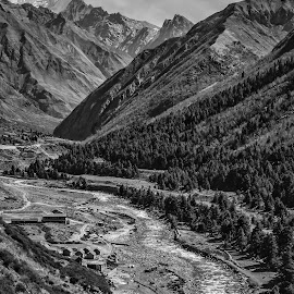 Mountain shades by Akashneel Banerjee - Black & White Landscapes ( himalaya, mountain, nature, river, black and white )