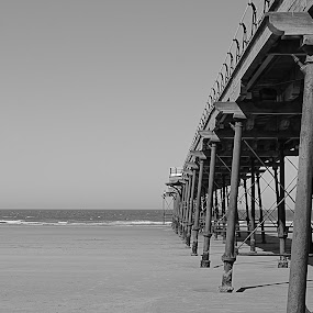 Staring at the sea by Mike Hawkwind - Novices Only Landscapes ( sand, uk, black and white, saltburn, pier, sea, b & w, landscape )