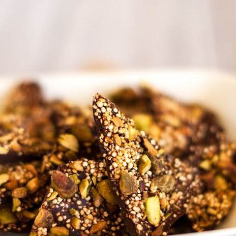 Salted Quinoa Chocolate Bark with Pistachios