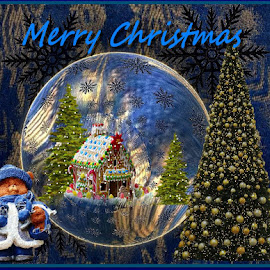 Fractal Merry Chrismast 2 all of U. by Linda Czerwinski-Scott - Typography Captioned Photos ( illustration, collage, greeting card, fractals, design,  )