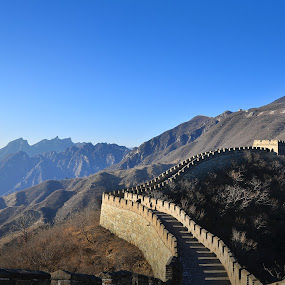 The great Wall of China by Lina Sariff - Landscapes Mountains & Hills